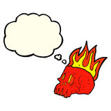 Cartoon flaming skull with thought bubble Stock Image
