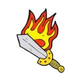 Cartoon flaming sword Royalty Free Stock Image