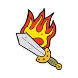 Cartoon flaming sword Royalty Free Stock Images