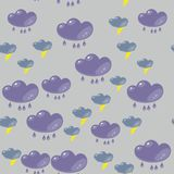 Cartoon flash clouds seamless pattern 633 Stock Image