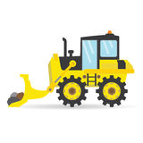 Cartoon flat bulldozer vector industry transportation illustration Royalty Free Stock Photography
