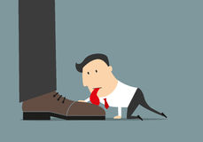 Cartoon flat businessman licking huge boot Royalty Free Stock Images