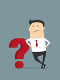 Cartoon flat businessman with red question mark Royalty Free Stock Image