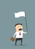Cartoon flat businessman with white flag. Cartoon disappointed businessman with briefcase holding white flag of surrender and defeat for financial failure Stock Image