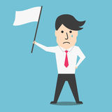 Cartoon flat businessman with white flag Stock Image