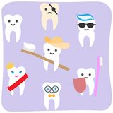 Cartoon flat colored tooth vector illustration