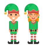 Cartoon Flat Design Elf Boy And Girl Characters Christmas Santa Teen Icons New Year Holiday Vector Illustration Stock Images