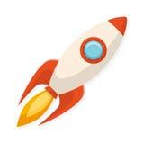Cartoon flat design rocket ship. Symbol of start up and creativi Stock Images