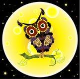 Cartoon flat design violet owl on yellow moon background, night dark blue sky vector illustration