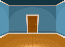 Cartoon flat empty room with a door in blue style Stock Photo