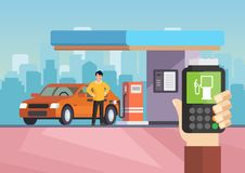 Cartoon flat gas station. Purchase of gasoline. Vector illustration man is refilling car with gasoline. Clipart. Gas petroleum station flat concept vector royalty free illustration