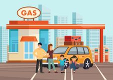 Cartoon flat happy family of fours with own car stock illustration