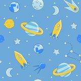 Cartoon flat kids space and cosmos science seamless pattern. Planet, rockets, stars and other space elements in simple Vector Illustration