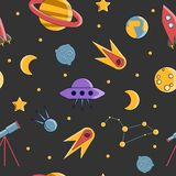 Cartoon flat kids space and cosmos science seamless pattern. Planet, rockets, stars and other space elements in simple Stock Illustration