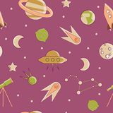 Cartoon flat kids space and cosmos science seamless pattern. Planet, rockets, stars and other space elements in simple Royalty Free Illustration