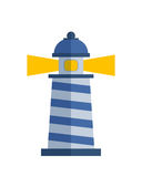 Cartoon flat lighthouse searchlight tower for maritime navigation guidance light vector illustration. Stock Photo