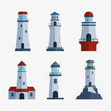 Cartoon flat lighthouse searchlight tower for maritime navigation guidance light vector illustration. Stock Images