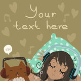 Cartoon flat Relax and Listen to the Music. The romantic vector illustration of young girl with cute funny cat listening music in headphones for games Royalty Free Stock Photos
