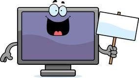 Cartoon Flat Screen TV Sign Royalty Free Stock Photography