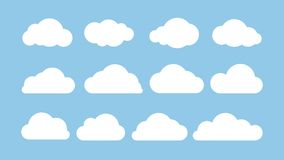 Cartoon flat set of white clouds isolated on blue background. Abstract element concept. Vector illustration vector illustration