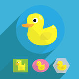 Cartoon flat shape rubber duck illustration. 4 shapes of rubber yellow duck in cartoon look Stock Images