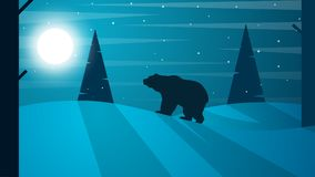 Cartoon flat tlandscape. Bear illustration. Fir, forest, moon, fog, cloud, snow, winter. Cartoon flat tlandscape. Bear illustration. Fir, forest, moon, fog Stock Photo
