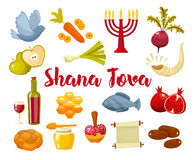 Cartoon flat vector illustration of icons for Jewish new year holiday Rosh Hashanah. Rosh Hashanah, Shana Tova or Jewish New year cartoon flat vector icons Stock Photo