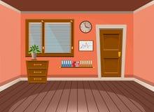 Cartoon flat vector interior office room in peach blossom style. Vector illustration Stock Photos
