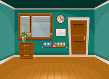 Cartoon flat vector interior office room in turquoise style Stock Photos