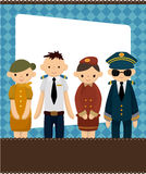 Cartoon flight attendant/pilot card. Drawing Royalty Free Stock Photography