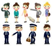 Cartoon flight attendant/pilot icon. Drawing Stock Photography