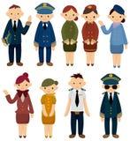 Cartoon flight attendant/pilot icon. Drawing Royalty Free Stock Photos