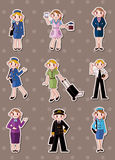 Cartoon flight attendant/pilot stickers Stock Photo