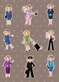 Cartoon flight attendant/pilot stickers. Cartoon  illustration Stock Photo