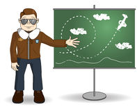 Cartoon flight instructor. Standing next to a blackboard and showing air maneuvers Royalty Free Stock Image