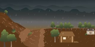 Cartoon flood disaster of house at rainwater forest. stock illustration