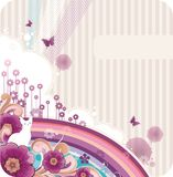 Cartoon floral background. With banner for text Stock Photography
