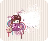 Cartoon floral background. With girl, cat and frame for text Stock Images
