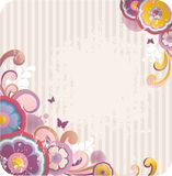 Cartoon floral background. With frame for text Royalty Free Stock Images