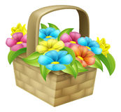 Cartoon Floral Basket stock illustration