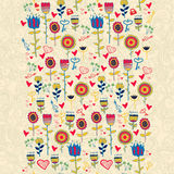 Cartoon Floral Cute Seamless Pattern. Royalty Free Stock Photography