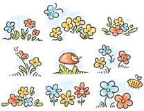 Cartoon floral design elements Stock Photography
