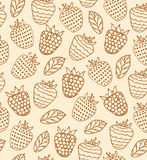 Cartoon floral design. Rural seamless pattern with berries. Raspberries retro background Royalty Free Stock Images