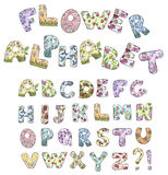 Cartoon flower alphabet. Vector illustration. Stock Photo