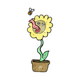 cartoon flower and bee Stock Photos