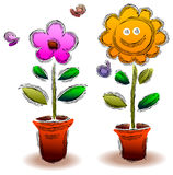 Cartoon flower with butterfly. Illustrated image Stock Photo