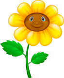 Cartoon flower with face stock illustration