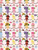 Cartoon flower fairy seamless pattern. Drawing Stock Photo
