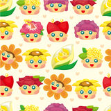 Cartoon flower fairy seamless pattern. Drawing Stock Images