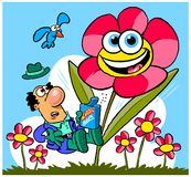 Cartoon flower garden. Cartoon caricature of flower growing in garden from super seeds planted by man against blue skies Stock Images